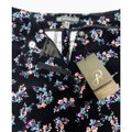 Adrianna Papell Pockets Leg Fitted Floral Print Stretch Weave Straight Pants Black Image 1