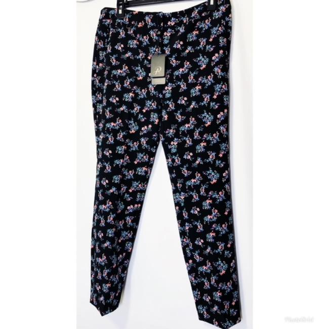 Adrianna Papell Pockets Leg Fitted Floral Print Stretch Weave Straight Pants Black Image 3
