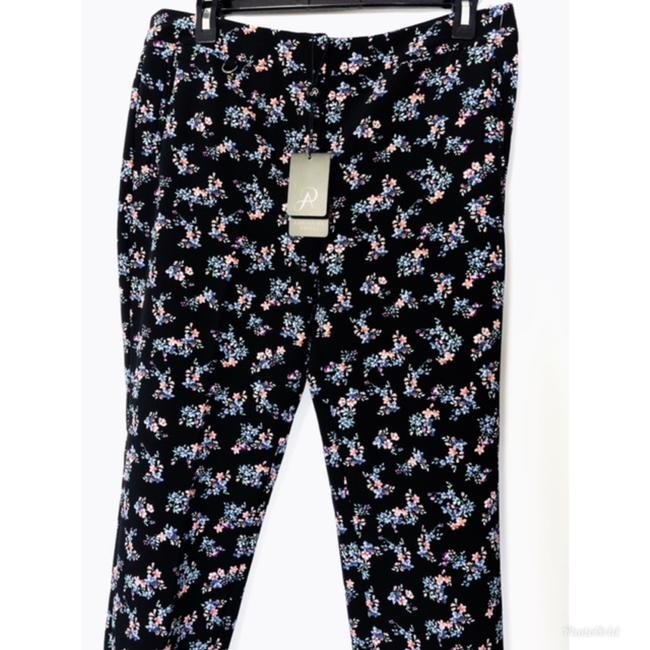 Adrianna Papell Pockets Leg Fitted Floral Print Stretch Weave Straight Pants Black Image 4