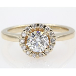 14k Yellow Gold Round Cut .84 Carat. Floating Floral Halo Engagement Ring