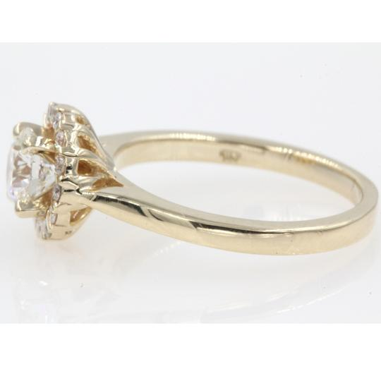 14k Yellow Gold Round Cut .84 Carat. Floating Floral Halo Engagement Ring Image 1