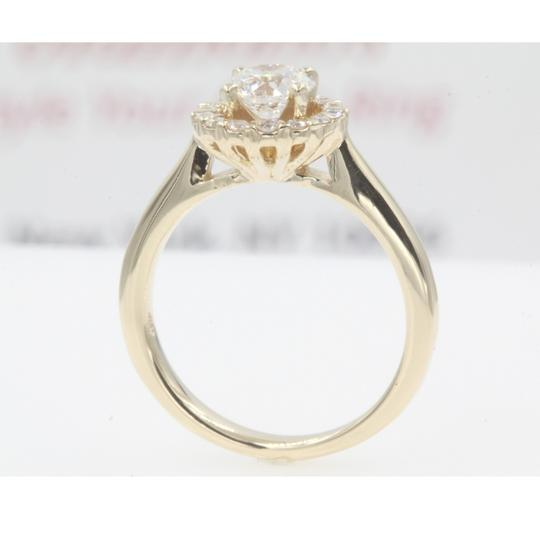 14k Yellow Gold Round Cut .84 Carat. Floating Floral Halo Engagement Ring Image 2