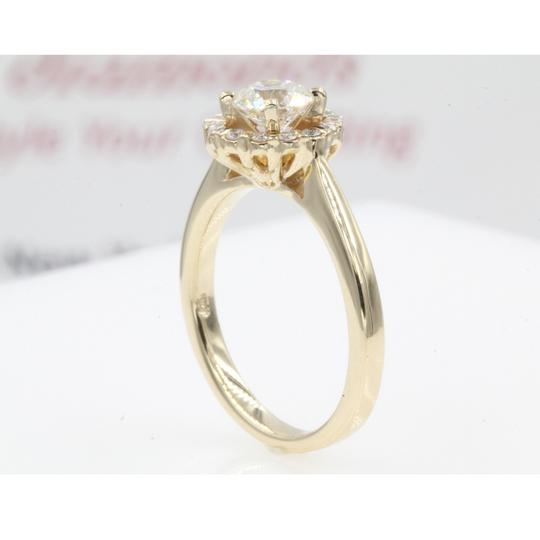 14k Yellow Gold Round Cut .84 Carat. Floating Floral Halo Engagement Ring Image 3