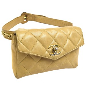 Chanel Leather Limited Edition Vintage Quilted European beige Clutch