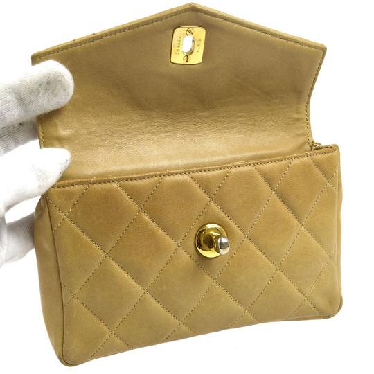 Chanel Leather Limited Edition Vintage Quilted European beige Clutch Image 2