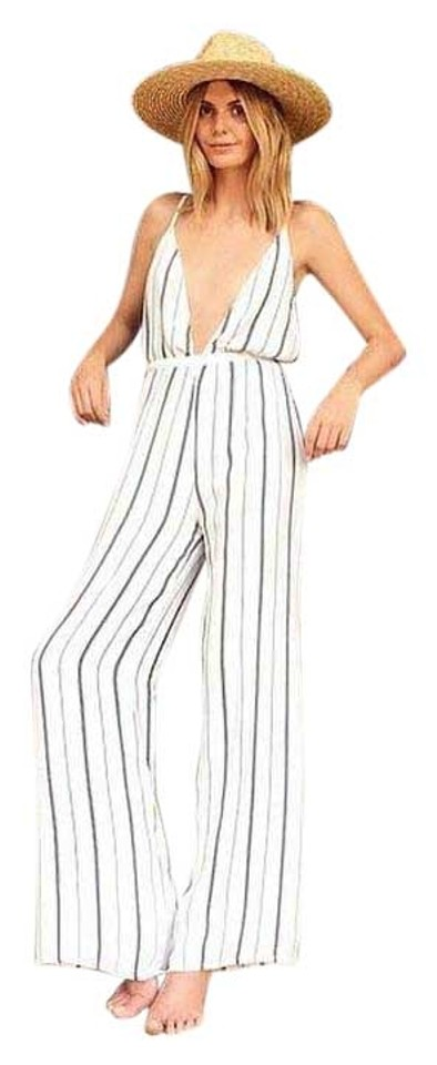 4c070470c5c Faithfull the Brand White Black Brown Stripes Shutterbabe Romper Jumpsuit