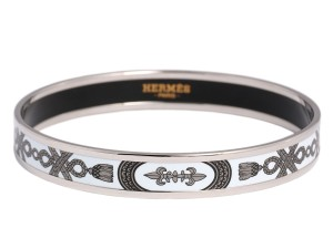 Hermès White and Silver Narrow Enamel Grand Apparat Bangle Bracelet