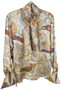 Escada Vintage Silk Paisley Print Birds Top Cream Gold Blue Multi-color