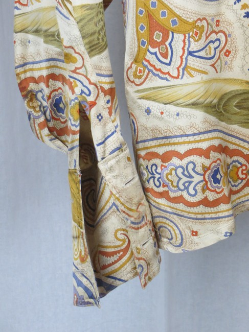 Escada Vintage Silk Paisley Print Birds Top Cream Gold Blue Multi-color Image 10