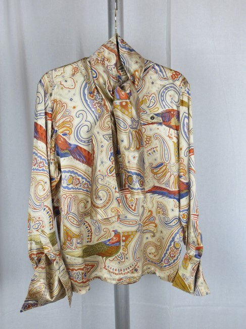 Escada Vintage Silk Paisley Print Birds Top Cream Gold Blue Multi-color Image 2