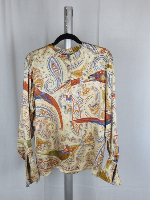 Escada Vintage Silk Paisley Print Birds Top Cream Gold Blue Multi-color Image 6