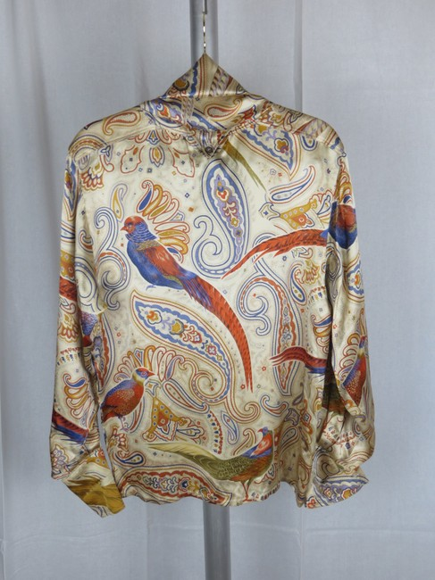 Escada Vintage Silk Paisley Print Birds Top Cream Gold Blue Multi-color Image 7