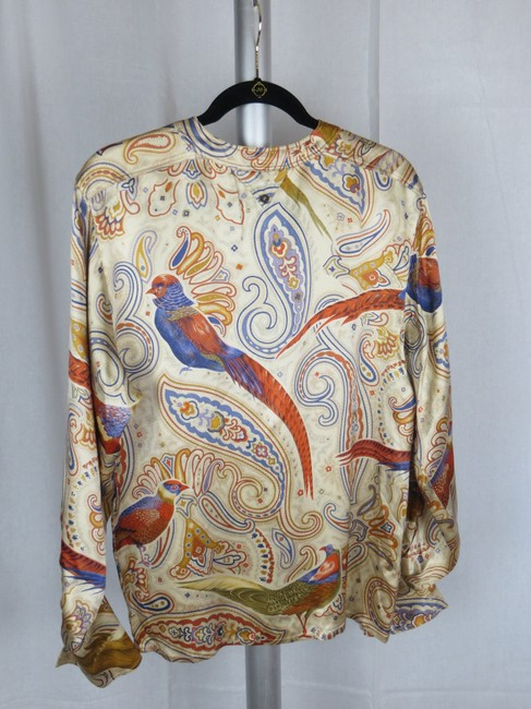 Escada Vintage Silk Paisley Print Birds Top Cream Gold Blue Multi-color Image 8