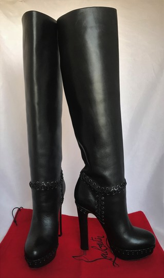 Christian Louboutin Pigalle Ankle Thigh High Over The Knee Black Boots Image 2