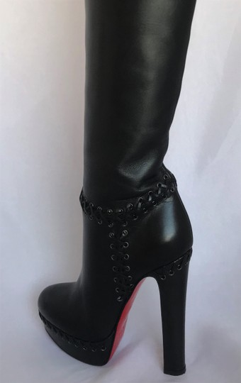 Christian Louboutin Pigalle Ankle Thigh High Over The Knee Black Boots Image 8