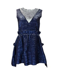 Jourden Metallic Ruffle Silver Lace Dress