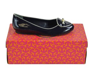 Tory Burch Loafers Slip On Patent 5 Bright Navy/ Smooth Blue Flats