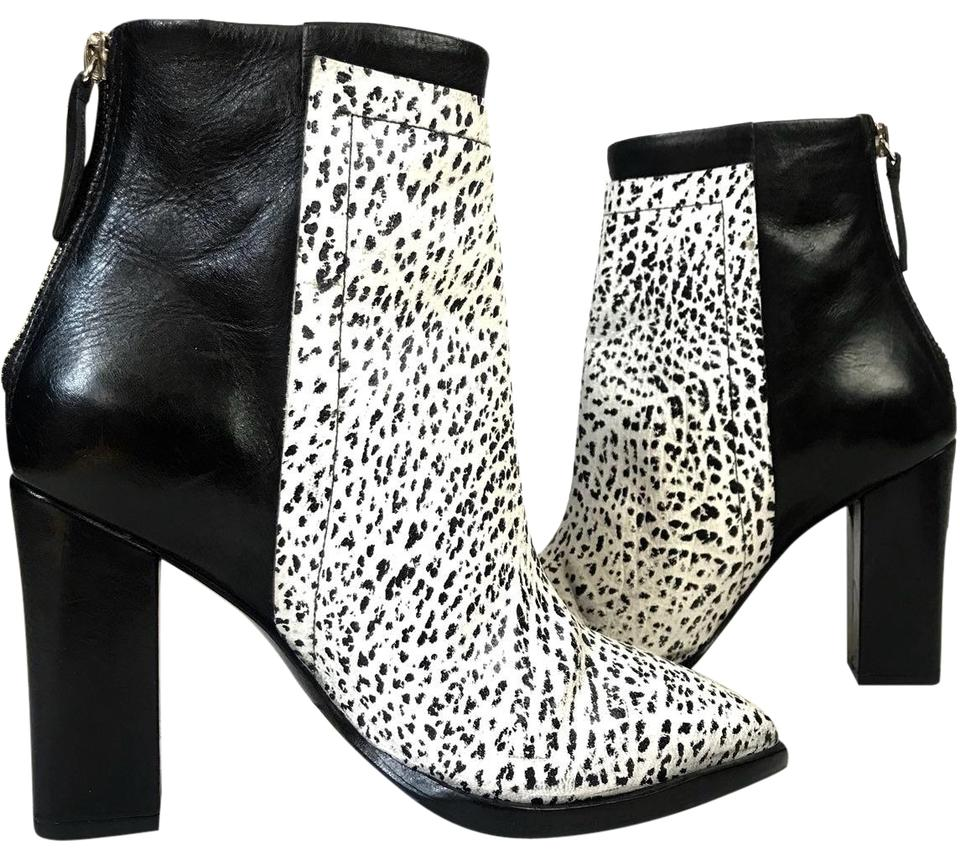 0a7fa2e4d5f4 Loeffler Randall Black White Leather Boots Booties Size US 5 Regular ...