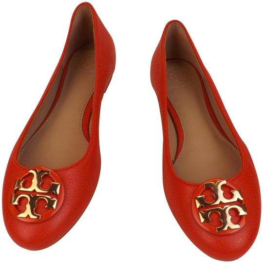 Preload https://img-static.tradesy.com/item/23939652/tory-burch-redsamba-redsambagold-claire-tumbled-leather-gold-tone-reva-ballet-flats-size-us-105-regu-0-2-540-540.jpg