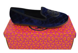 Tory Burch Slippers Loafers Velvet Blue Slip On Bright Navy/ Black Flats