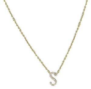 "Sydney Evan Initial ""S"" Necklace Mini Pavé Diamond 0.05cts 14K Yellow Gold"