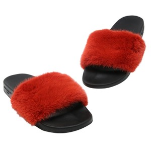Givenchy Pool Vacation Summer Fun Casual Fuax Mink Red Sandals