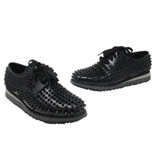 Prada Black Luna Parda Cup Rossa Studded Derby Leather Casual Size Us 9.5 Shoes