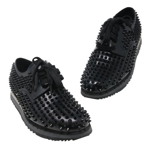Prada Black Luna Parda Cup Rossa Studded Derby Leather Casual Size Us 9.5 Shoes Image 2