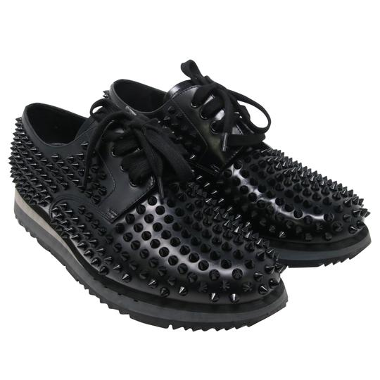 Prada Black Luna Parda Cup Rossa Studded Derby Leather Casual Size Us 9.5 Shoes Image 3