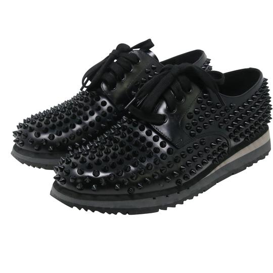 Prada Black Luna Parda Cup Rossa Studded Derby Leather Casual Size Us 9.5 Shoes Image 4