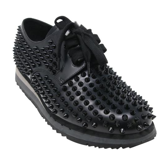Prada Black Luna Parda Cup Rossa Studded Derby Leather Casual Size Us 9.5 Shoes Image 5