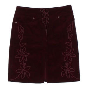 Hot Kiss A-line Embroidered Lace-up Skirt burgundy red wine maroon