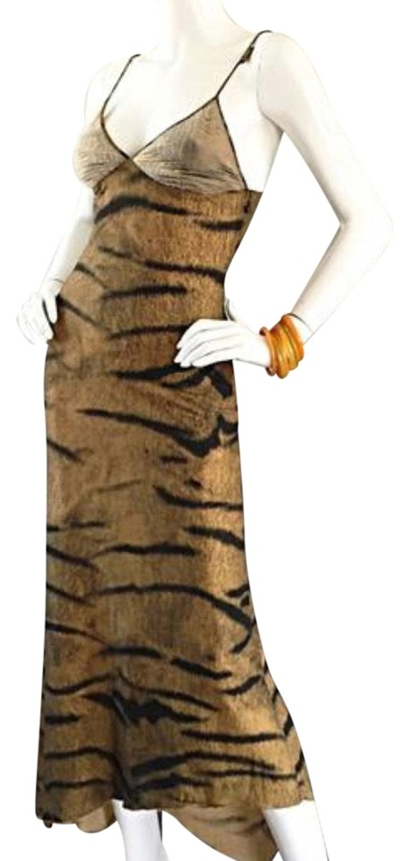 647ddfb828 Roberto Cavalli Tiger Print Vintage Early 1990s Long Night Out Dress ...