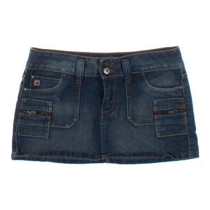 Paris Blues Multi Pocket Denim Jean Mini Skirt blue navy
