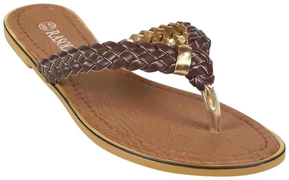 a547ed411b96 Rasolli Brown Gold-trim Braided Sandals Size US 8.5 Regular (M
