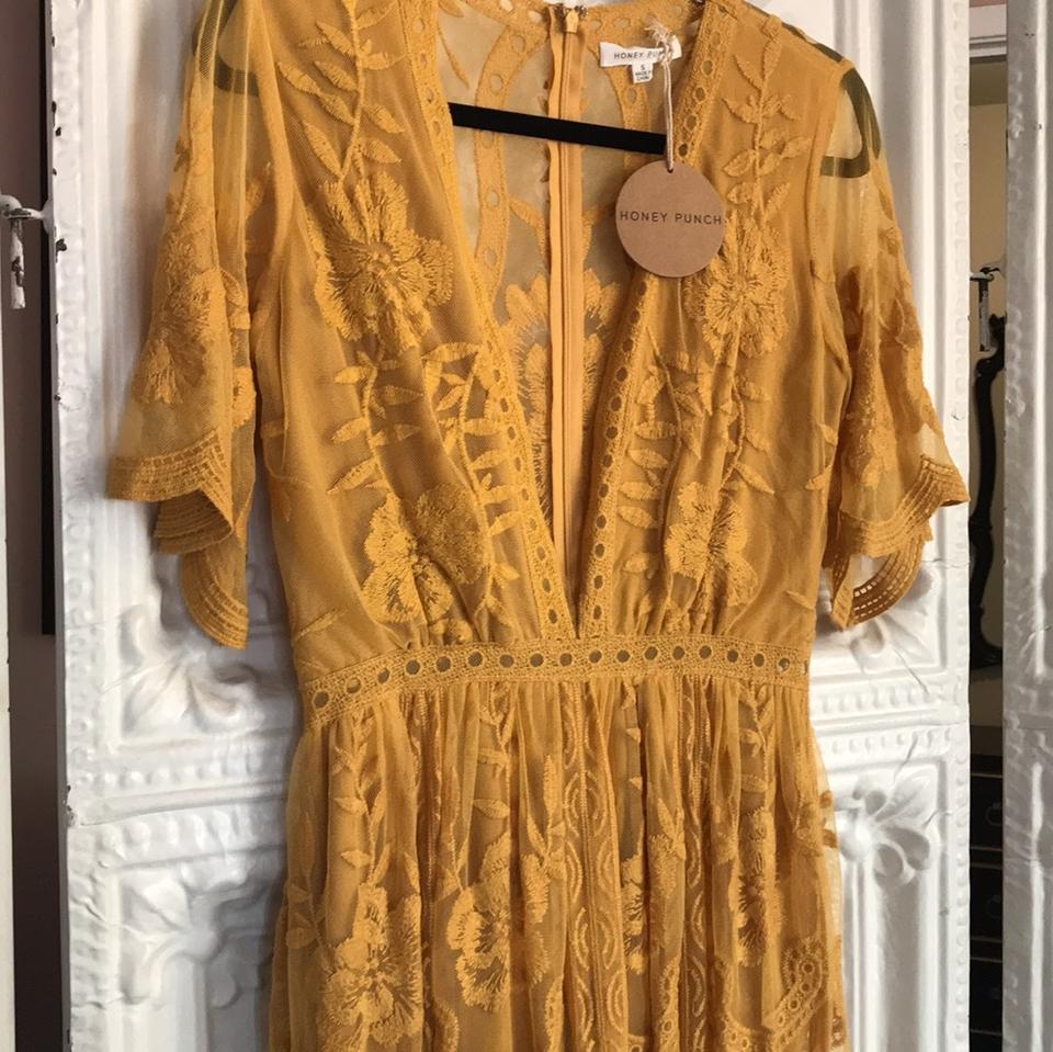eb8497195a5c Honey Punch Yellow Mustard Embroidered Lace Romper Long Casual Maxi ...