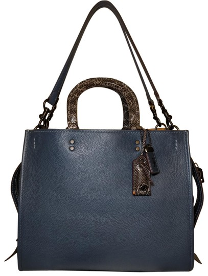 Preload https://img-static.tradesy.com/item/23940131/coach-1941-rogue-36-colorblock-snakeskin-python-58965-dark-denim-glovetanned-pebble-leather-tote-0-8-540-540.jpg