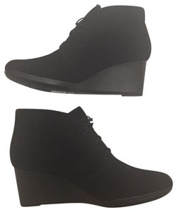 Clarks Fall Lace Up Wedge Heel New Black Boots