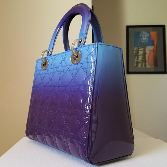 Dior Lady Lady Purse Lady Lady Medium Lady Patent Tote in Gradient purple and blue Image 1