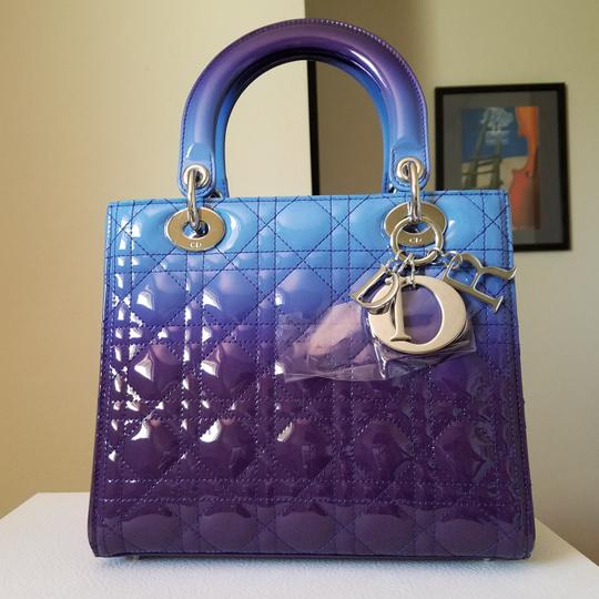 Dior Lady Lady Purse Lady Lady Medium Lady Patent Tote in Gradient purple and blue Image 2