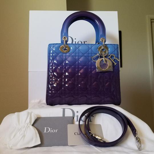 Dior Lady Lady Purse Lady Lady Medium Lady Patent Tote in Gradient purple and blue Image 4