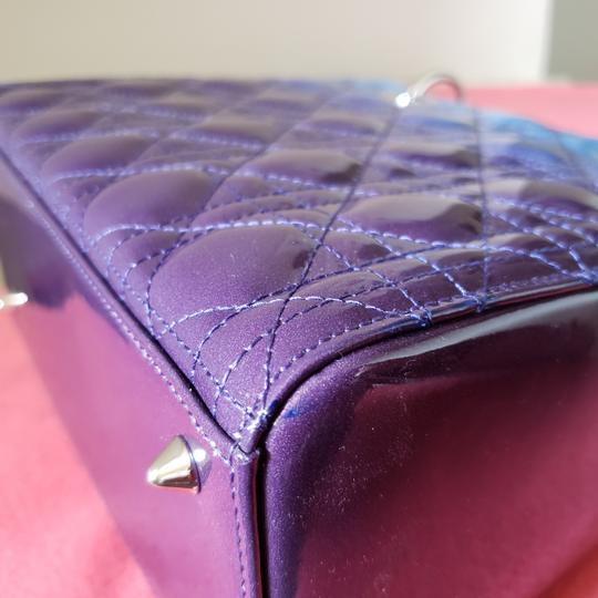 Dior Lady Lady Purse Lady Lady Medium Lady Patent Tote in Gradient purple and blue Image 6