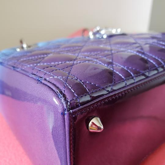 Dior Lady Lady Purse Lady Lady Medium Lady Patent Tote in Gradient purple and blue Image 8