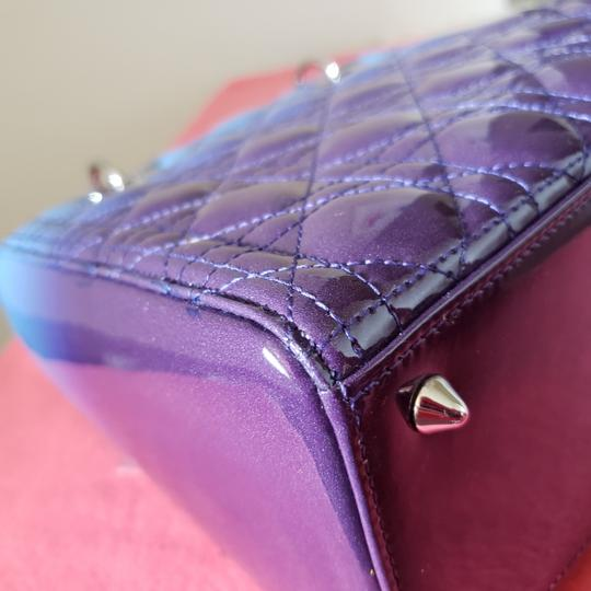 Dior Lady Lady Purse Lady Lady Medium Lady Patent Tote in Gradient purple and blue Image 9