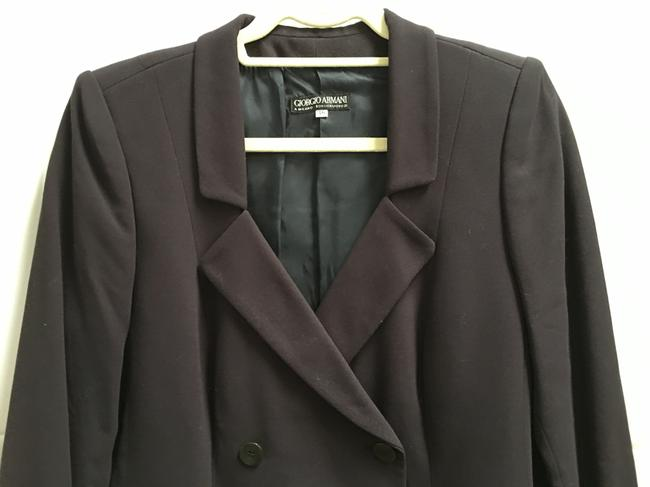 Giorgio Armani Dark Double Breasted Long Sleeved Lined Made In Italy Brown Blazer Image 1