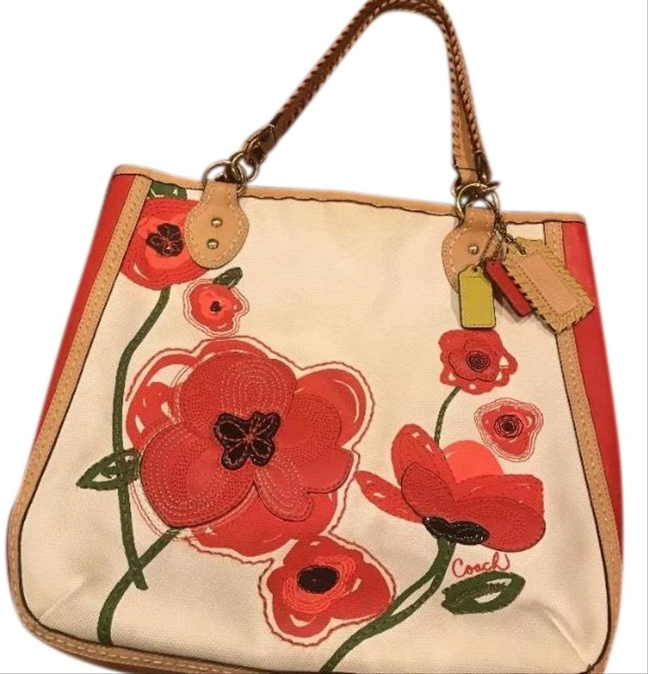 Coach poppy limited edition flower applique purse canvas tote tradesy coach poppy limited edition flower applique purse canvas tote mightylinksfo