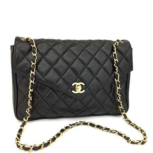 Chanel Lambskin Leather Vintage Front Flap Shoulder Bag