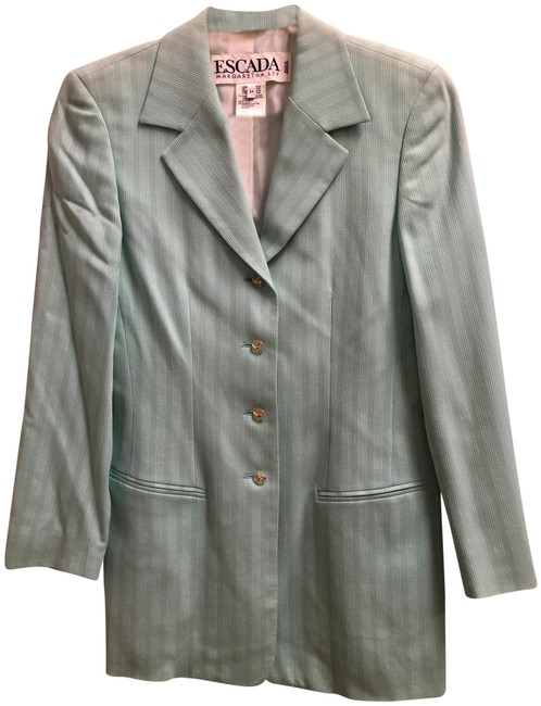Escada White Stitch Stripe Clear/Gold Buttons Wool Blend Lined Light Green Blazer Image 0