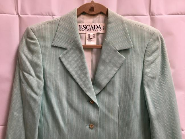 Escada White Stitch Stripe Clear/Gold Buttons Wool Blend Lined Light Green Blazer Image 1