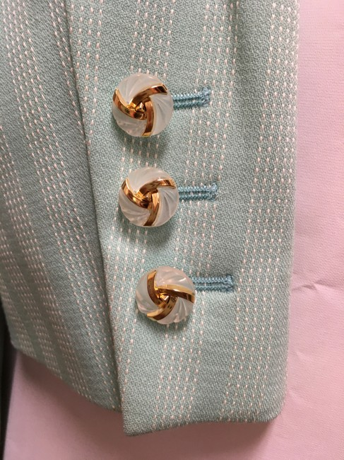 Escada White Stitch Stripe Clear/Gold Buttons Wool Blend Lined Light Green Blazer Image 5